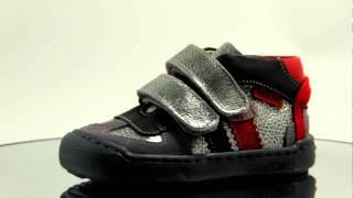 Støvletter i grå og rød