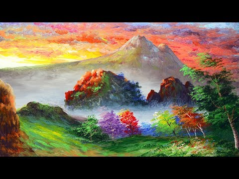 HOW TO PAINT sunrise, rocky mountains, and trees | ACRYLIC PAINTING LANDSCAPE TUTORIAL | BEGINNERS