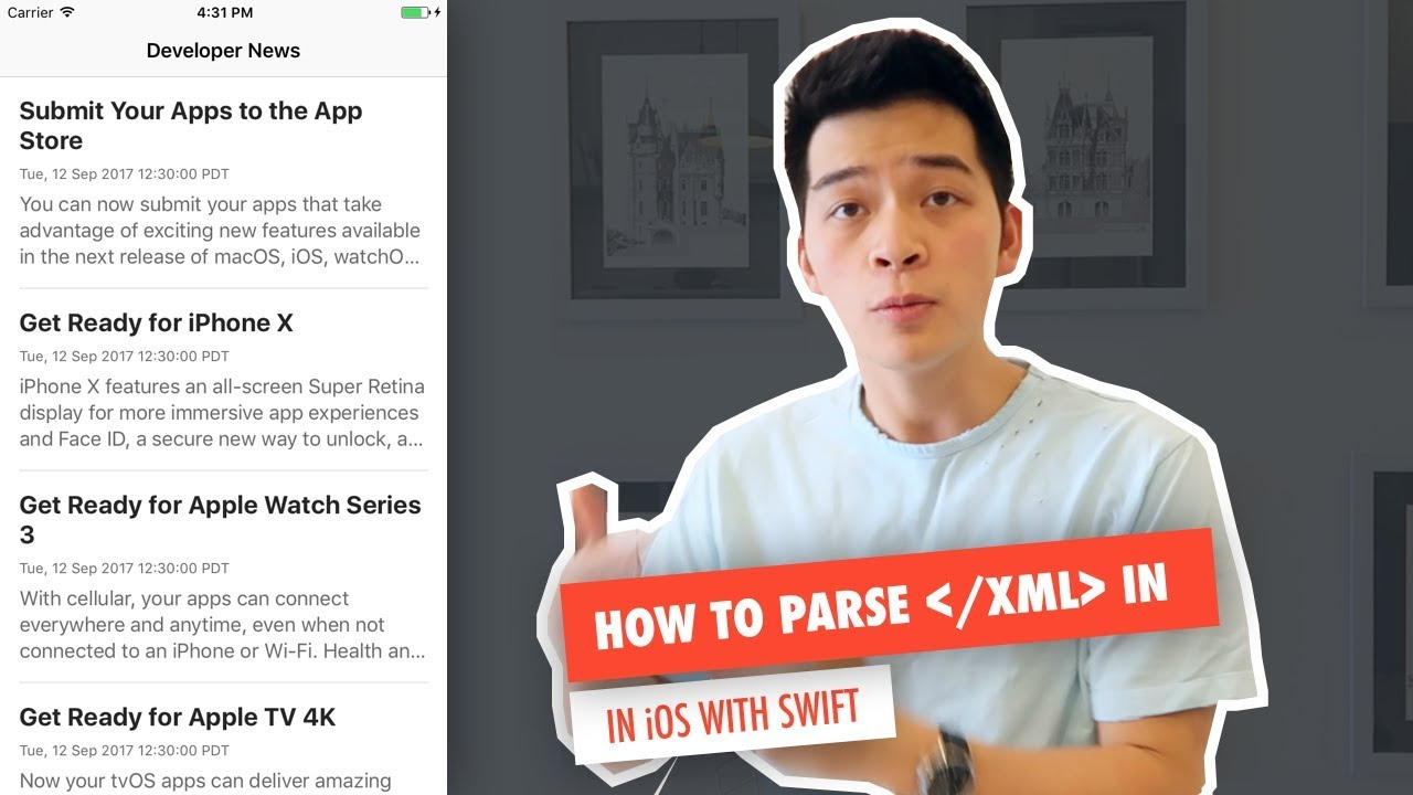 Ios swift 4 xcode 9 xml parsing youtube.