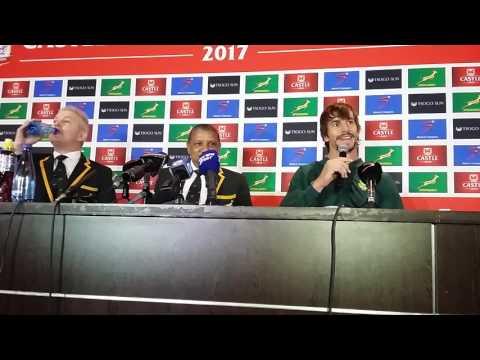 Springbok coach Allister Coetzee and stand-in captain Eben Etzebeth