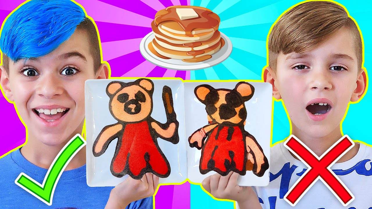 PANCAKE ART CHALLENGE! (Piggy, Granny, Hello Neighbor, Baldi, Ice Scream) FUNhouse Family