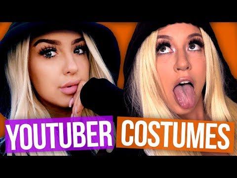 Dressing Up as YouTubers For Halloween w/ GRACE HELBIG! (Beauty Break)