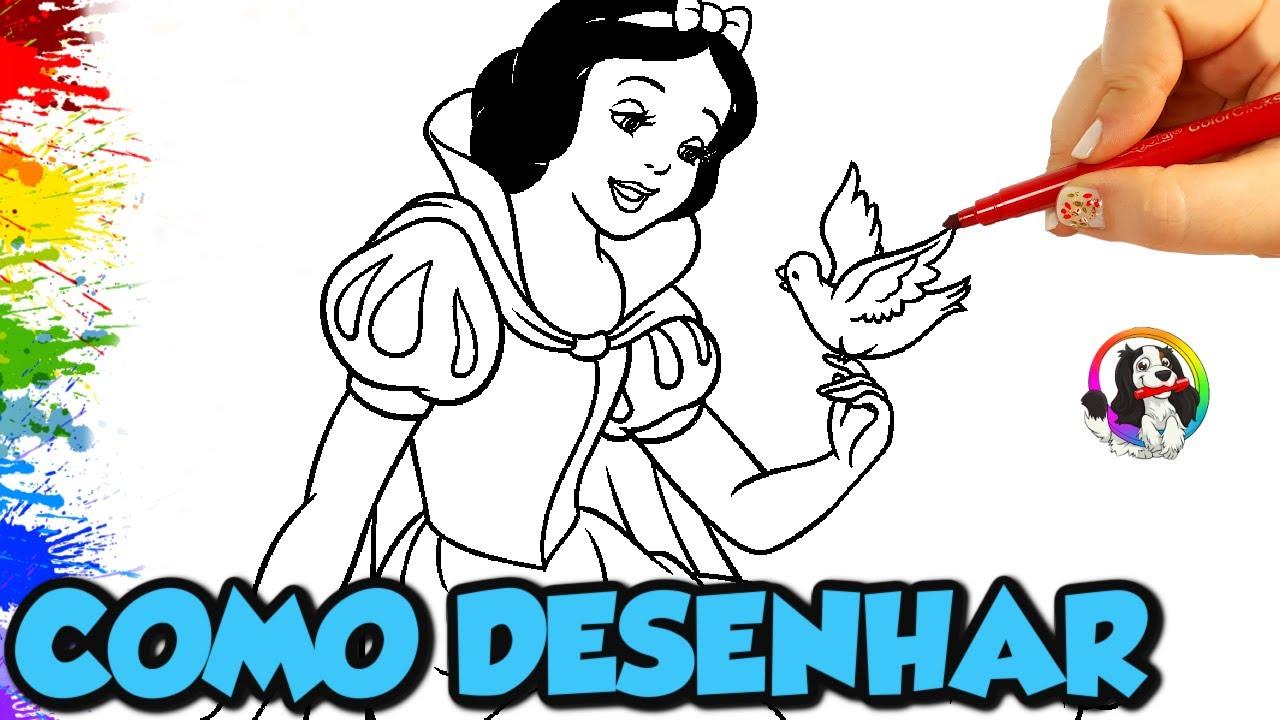 Branca de Neve Desenhos Fáceis para desenhar passo a passo   Princesa da Disney em Português  
