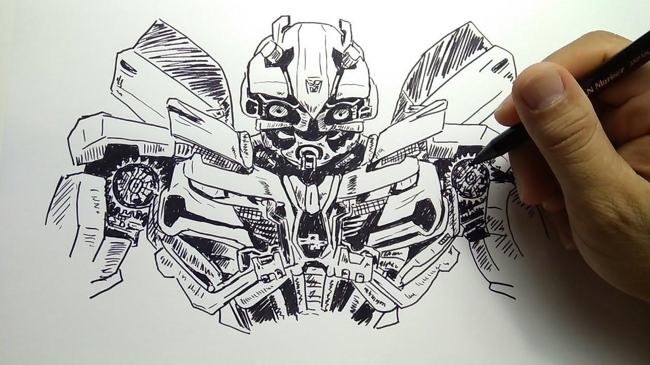 cara menggambar Transformer bumbleebee how to draw transformer bumbleebee