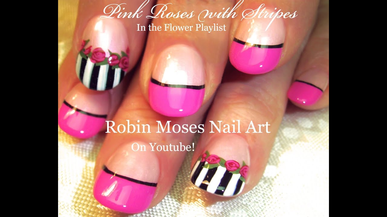 Easy Pink Rose Nails Black And White Stripes Nail Art Design