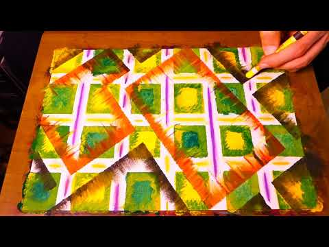 Geometric Abstract Painting Creating Layred Technique For Beginners
