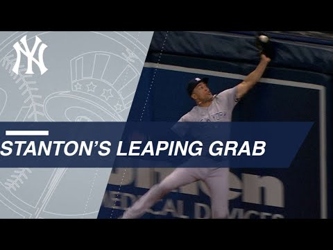 Giancarlo Stanton's leaping grab at the RF wall
