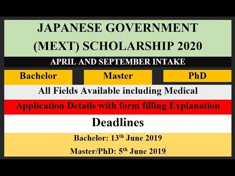 Japanese Government (MEXT) Scholarship 2020 | Bachelor | Master | PhD |  Details & Submission