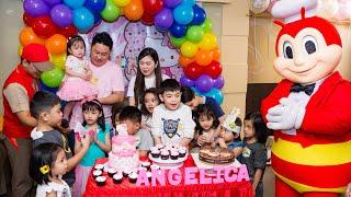 Jollibee Party Jayrah's Birthday Cake Blowing (Hello Kitty)