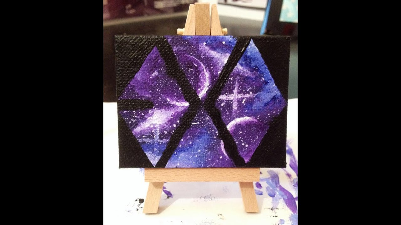 Exo two moons nebula logo acrylic canvas painting for How to do painting on canvas