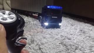 Caminhão de controle remoto scania 124 mini tamiya escala 1:18 rc 3ch vh miniaturas