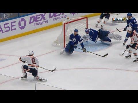 Andrei Vasilevskiy uses his head to rob Ty Rattie