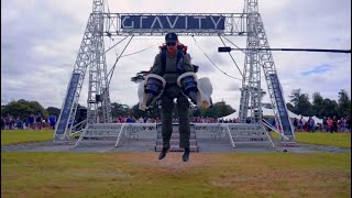 Watch prototype electric jet suit fly