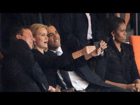 Obama snaps 'selfie' at Mandela memorial