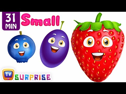 Learn Sizes & Fruits with Wooden Hammer Surprise Eggs Hitting Game | ChuChu TV Surprise