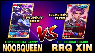 Download Top 1 Global Fanny NOOBQUEEN vs. Top 1 Global Gusion RRQ XIN in rank ~ Mobile Legends