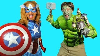Hulk Thor Ragnarok Vs. Captain America Toy Challenge!    Disney Toy Review    Konas2002