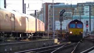 EWS 66102 and 66085 Engineers Train passing Newcastle