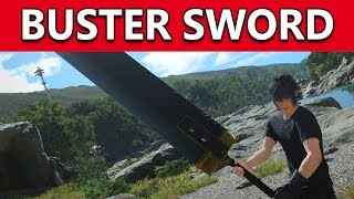 Final Fantasy 15 PC   FF7 CLOUD'S SWORD Now Available!!   Amazing Buster Sword Player Mod