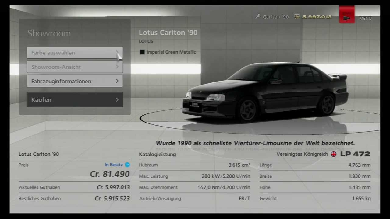 der lotus omega carlton bei gran turismo 6 gt6 youtube. Black Bedroom Furniture Sets. Home Design Ideas