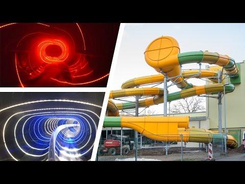 Awesome LED Water Slides at Freizeitzentrum Hains Freital