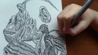 11歳の少年による、緻密すぎるドローイングで描く動物たち