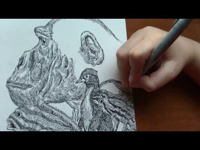 Dusan Krtolica 11 years, Crtanje Zivotinja, Drawing Animals