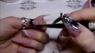 Fantasy FX Nails - CJP Black, bright white and black tie glitter mix Full set,