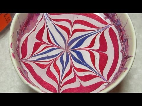 4th of july water marble nail art