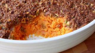 Sweet Potato Casserole with Pistachio Crust - Thanksgiving Sweet Potato Casserole Side Dish Recipe