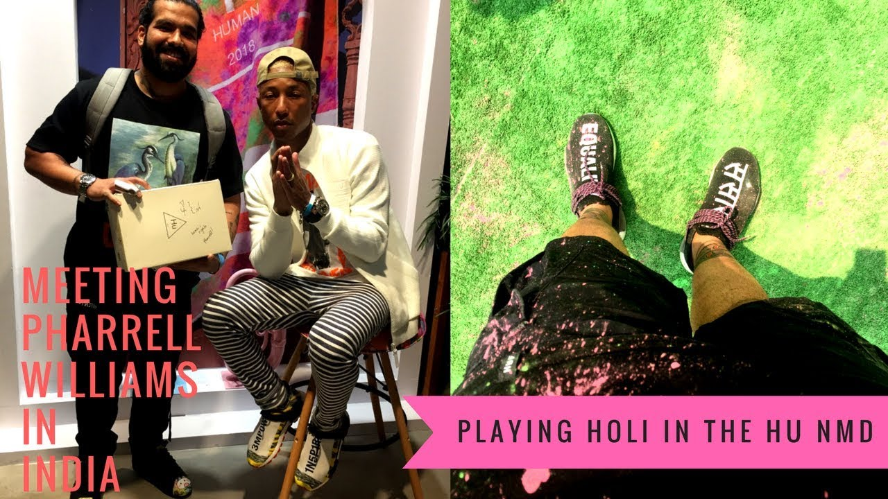 6e693c11a1ef9 Pharrell Williams signed my pair of the Holi Hu NMD + I played Holi in them  at his party
