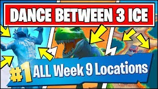 DANCE BETWEEN THREE ICE SCULPTURES, DINOSAURS, HOTSPRINGS *ALL LOCATIONS* Fortnite Week 9 Challenges