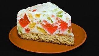Торт «Битое Стекло» видео рецепт(Простой, но вкусный тортик. А если сметану заменить нежирным йогуртом - получится еще и диетический., 2013-01-23T05:31:02.000Z)