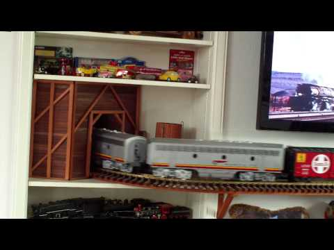 LGB Santa Fe F7-A and F7-B Locomotives on my Indoor Wall Layout