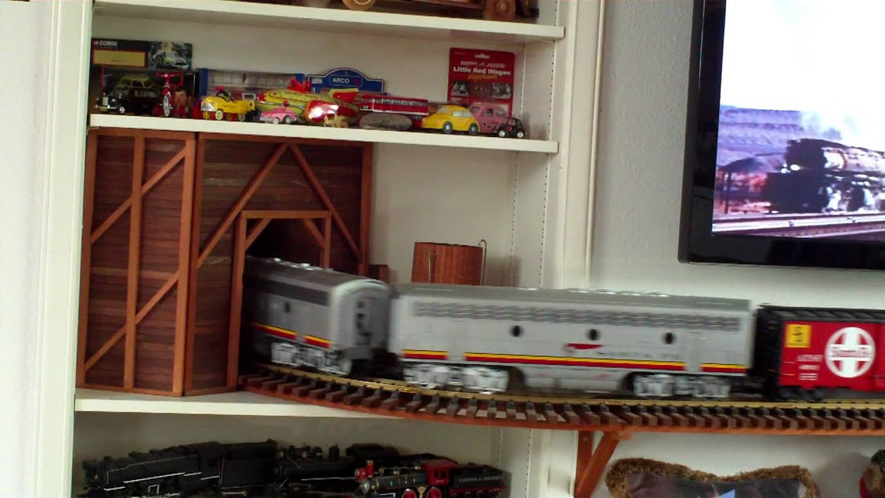 Lgb Santa Fe F7 A And F7 B Locomotives On My Indoor Wall