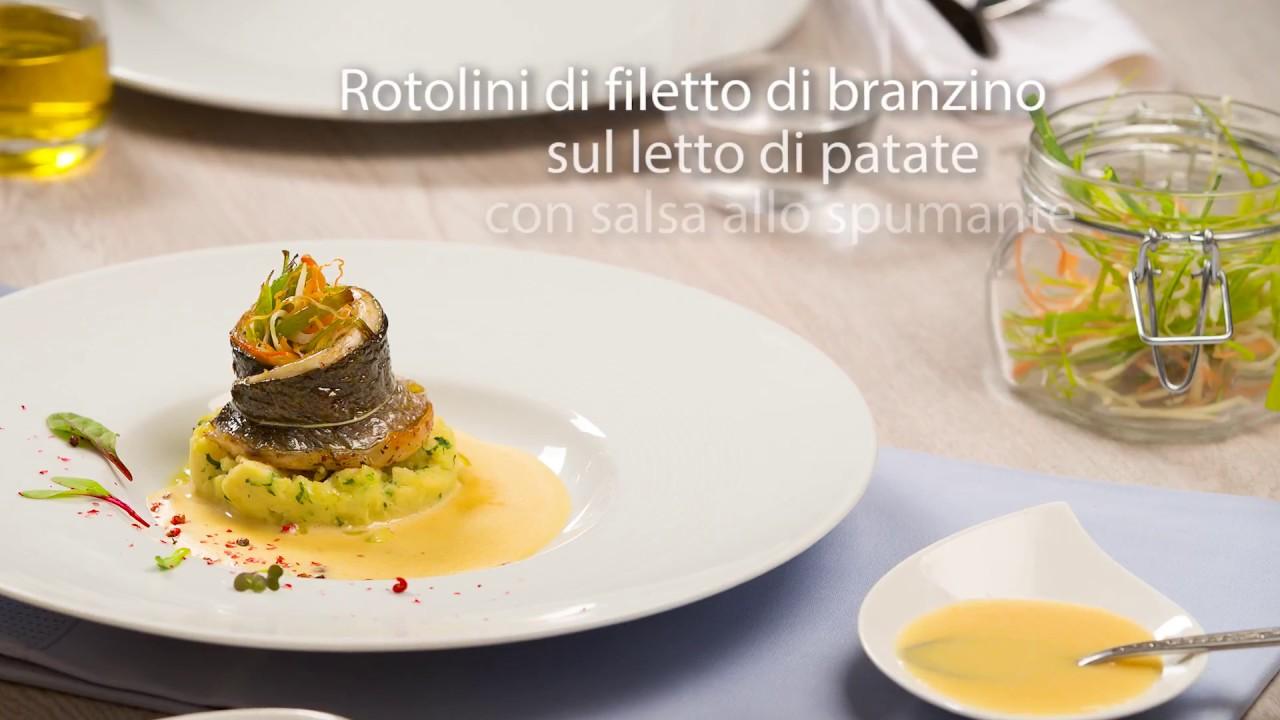Disegno cucinare filetti di branzino : Rotolini di filetto di branzino su un letto di patate con salsa ...