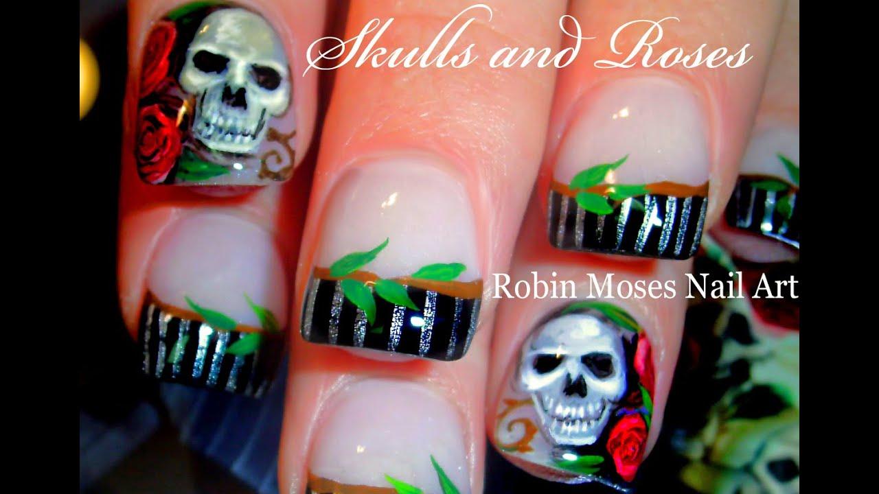 Diy Skulls And Roses Nail Art Design Sexy Gothic Nails Tutorial