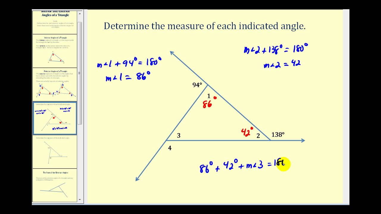 medium resolution of Introduction to the Interior and Exterior Angles of a Triangle. - YouTube
