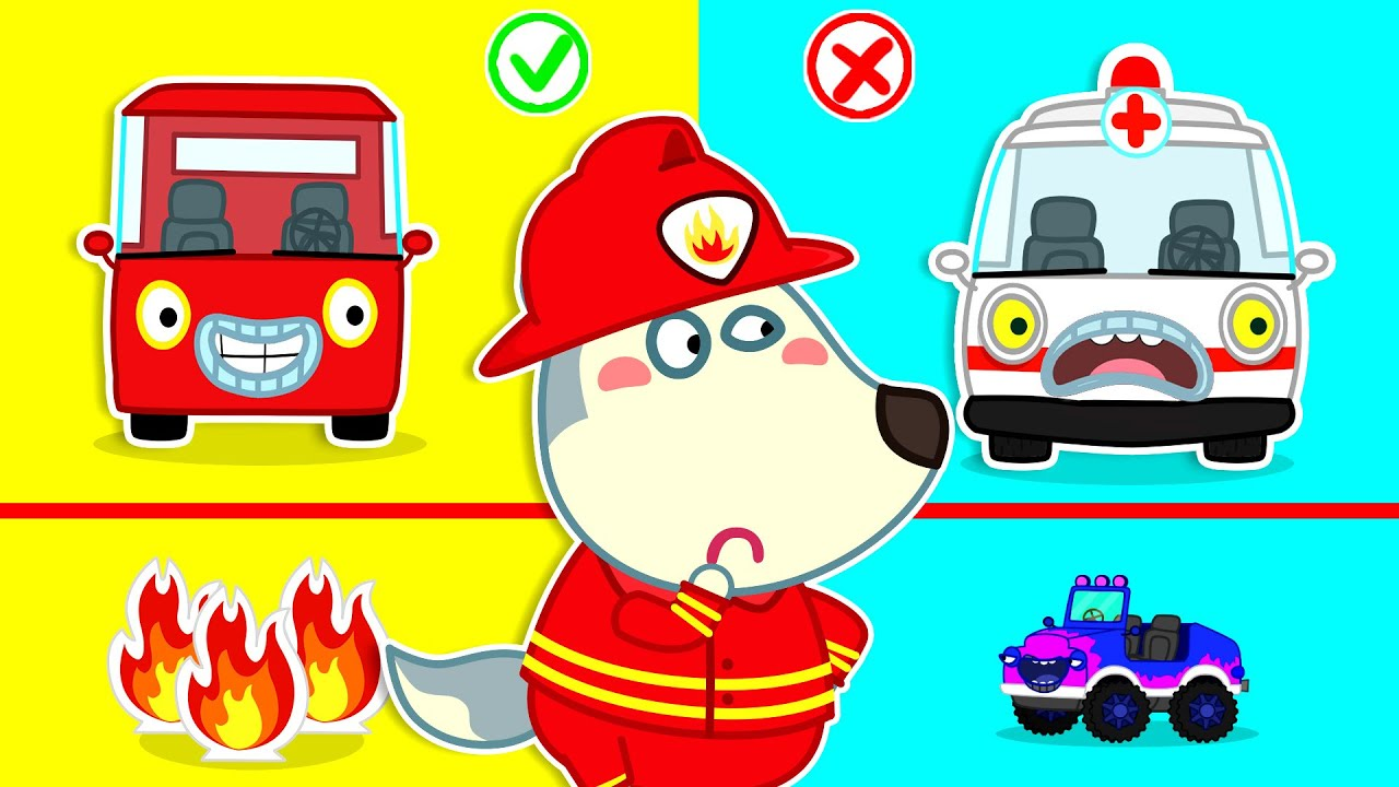 Wolf Family⭐️ Wolfoo's Rescue Mission with Fire Truck, Ambulance - Wolfoo Pretend Play Professions