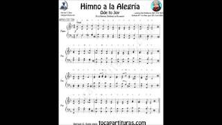 Himno de la Alegría Partitura para Piano muy fácil para principiantes e instrumentos melódicos