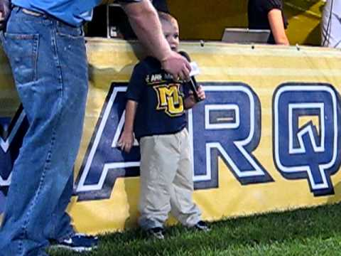 cooper smith 3 year old  singing national anthem at marquette womens soccer