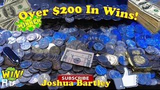 Winning $200 on Coin Pusher! | Highlights of every Win | also Cheater Caught! | Joshua Bartley