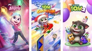 Talking Tom Gold Run - My Talking Tom 2 vs My Talking Angela Gameplay