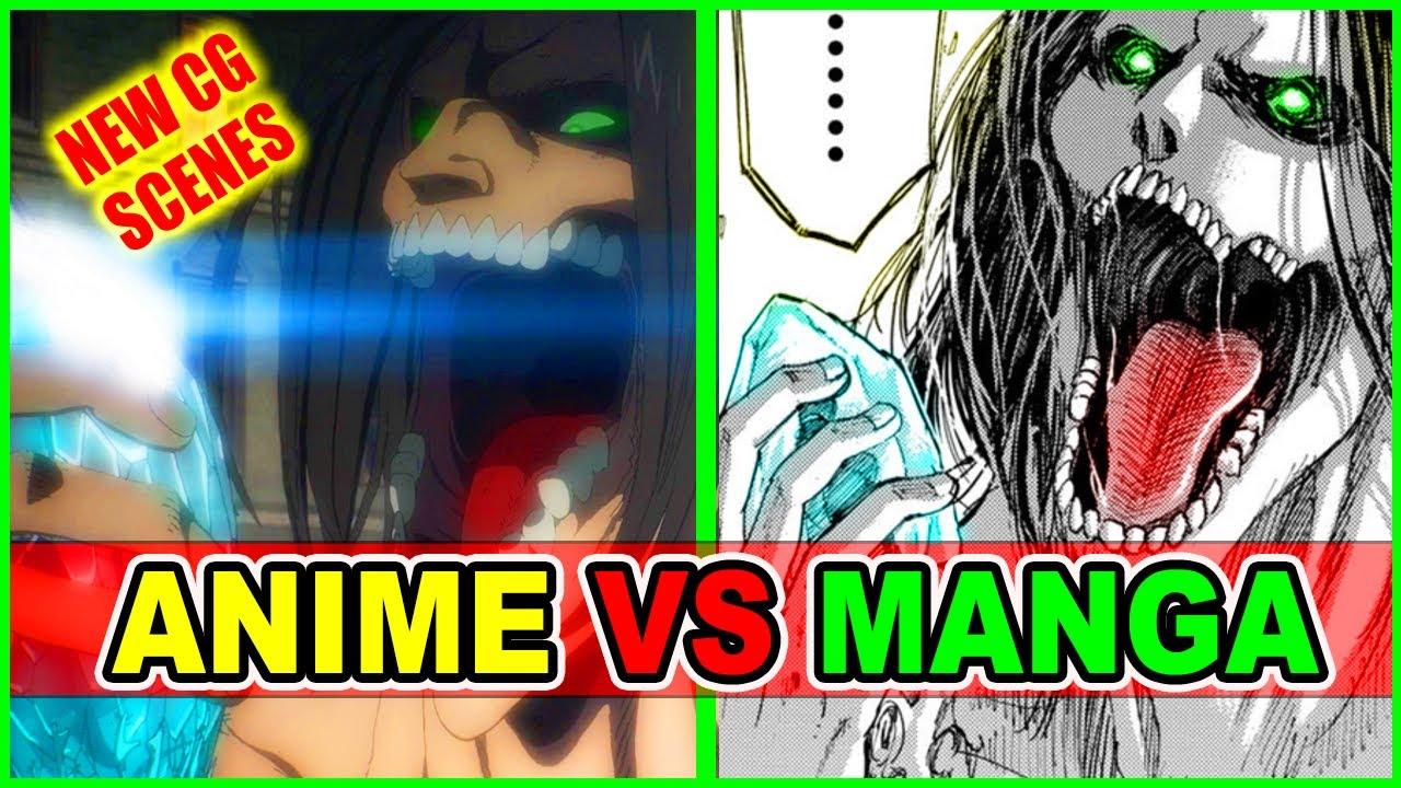 Eren Vs Warhammer Titan Improved? CG Anime Vs Manga | Attack on Titan Season 4 Episode 6