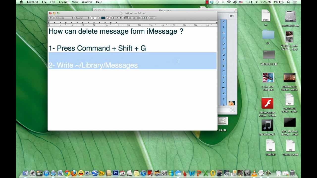 How can delete message form iMessage MacBook Pro