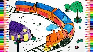 Train Coloring Pages and Drawing | Colouring Videos with Colored Markers