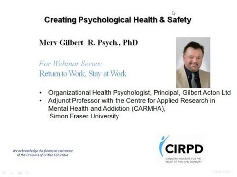 Creating Psychological Health and Safety at Work