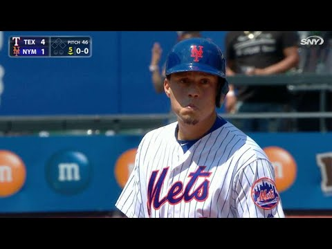 TEX@NYM: Flores hits solo homer after call overturned