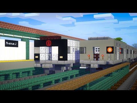 Minecraft NYC Avenue J Subway B, Q Train Animation