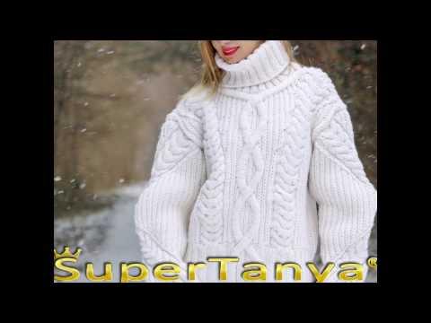 100% white merino hand knitted stylish turtleneck sweater
